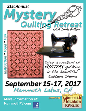 Mammoth Lakes Mystery Quilting Retreat event flyer