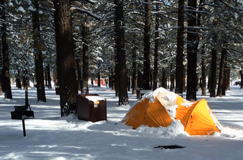 Snow tent camping in Mammoth Lakes, California